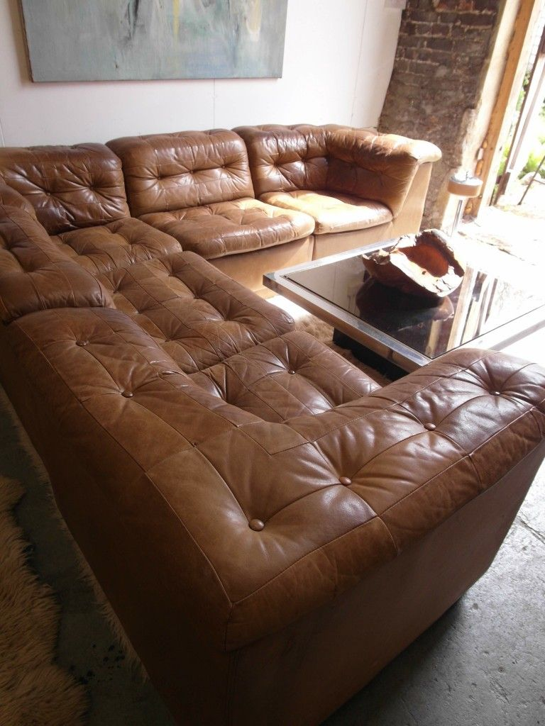 Vintage Danish Modular Sofa in Tan Patchwork Leather £2125 | Mid ...
