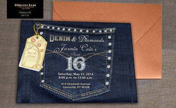 Denim Wedding Invitations: This Is A Custom Denim And Diamonds Party / Birthday Party