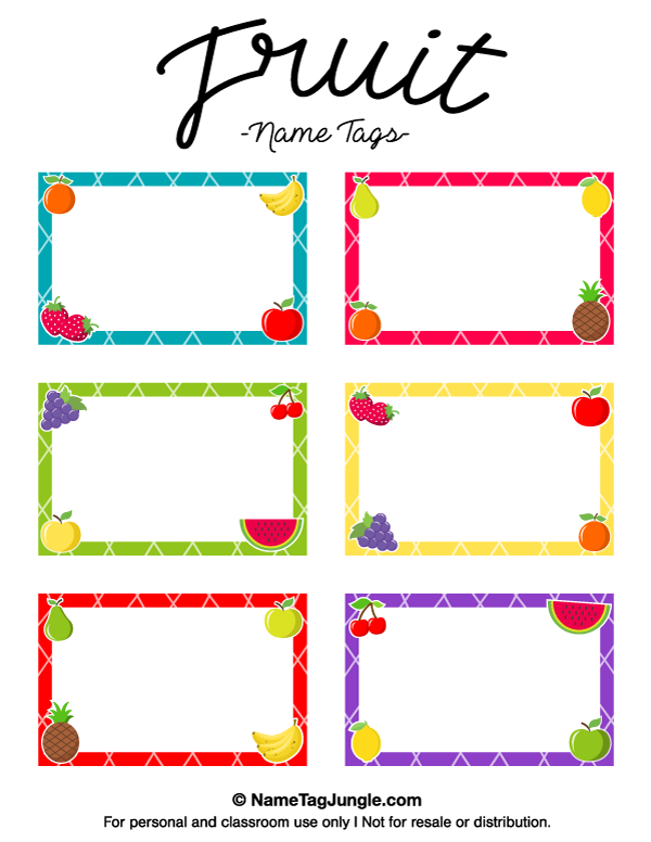 Free printable fruit name tags the template can also be for Locker tag templates