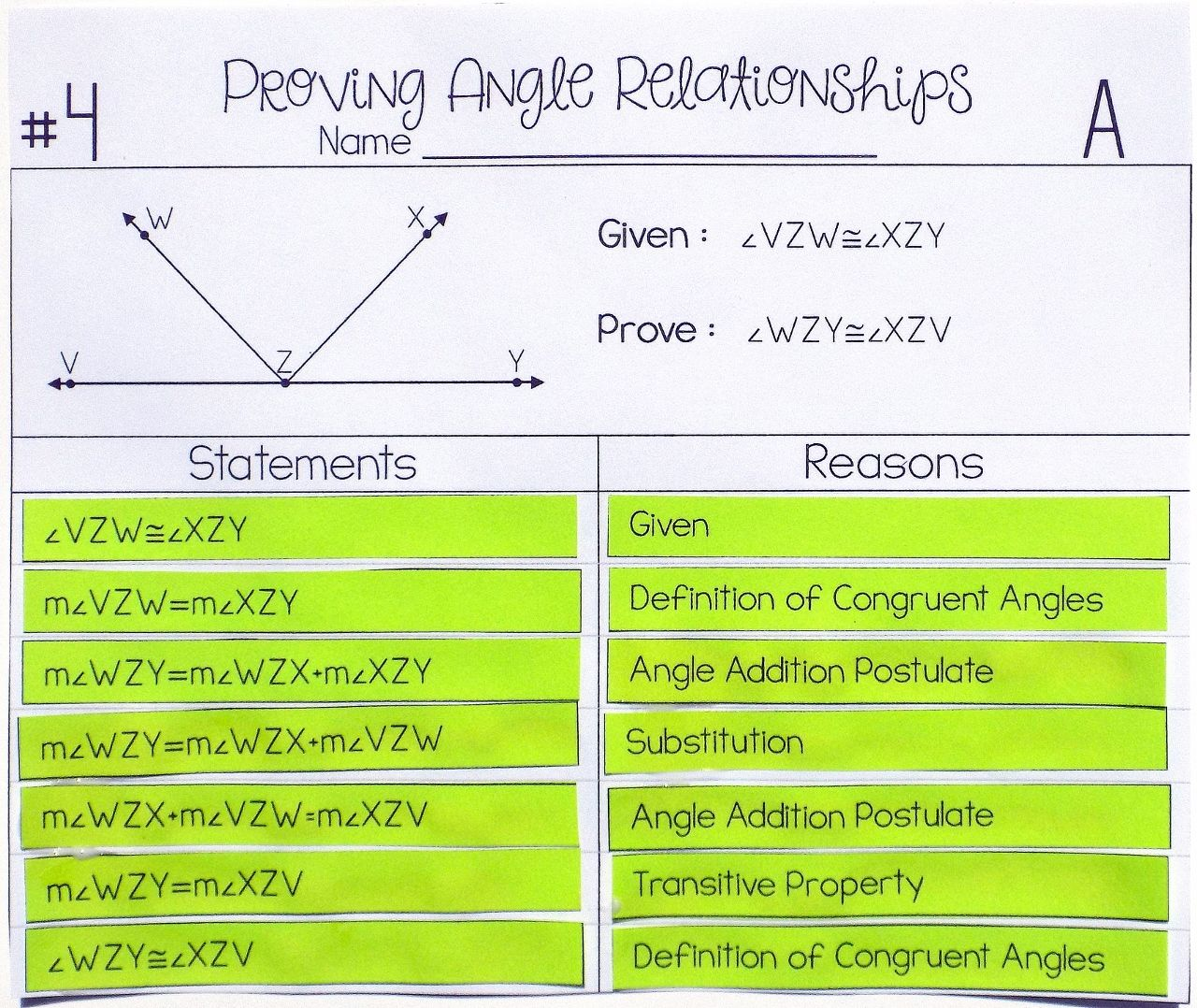 Angle Relationships Proof Activity My Tpt Items Geometry