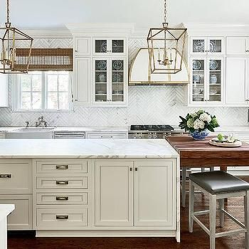 Cream Kitchen Island With Honed White Marble Countertop Kitchen