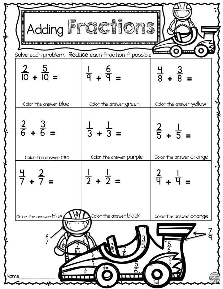 Adding Fractions With Unlike Denominators Fun Worksheet Adding