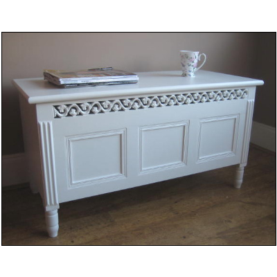 WHITE French Carved Blanket Box Toy Storage Coffee Table Storage Shabby Chic