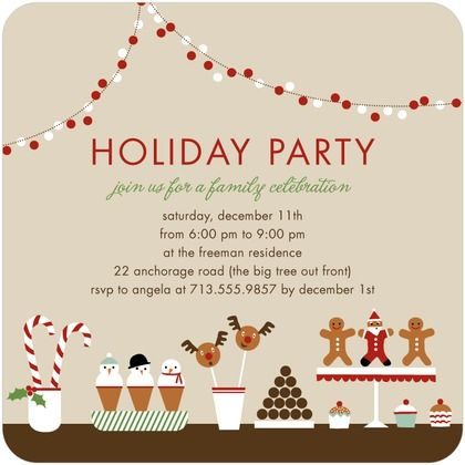 Cute holiday invitation with dessert table -from tiny prints - holiday celebration invitations