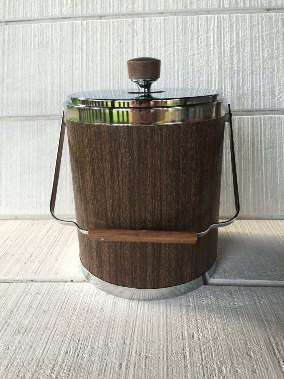 Large Ice Bucket Kromex Retro Woodgrain And Chrome Handled Mcm Barware Vintage Bar Cart