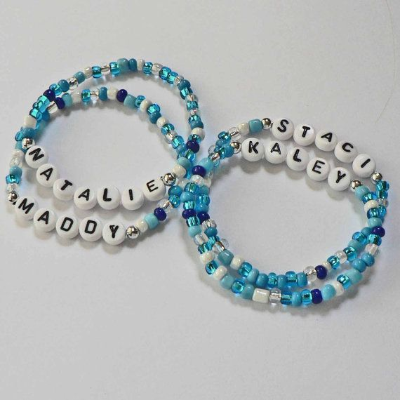 POOL PARTY in Ocean Blue Water Personalized Children's Bracelets Name ID Jewelry Infant Child Kid Adult Sizes Party Favor on Etsy, $3.25