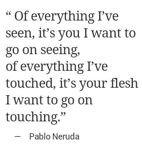 Of everything I've seen, it's you I want to go on seeing; of everything I've touched, it's your flesh I want to go on touching. -Pablo Neruda