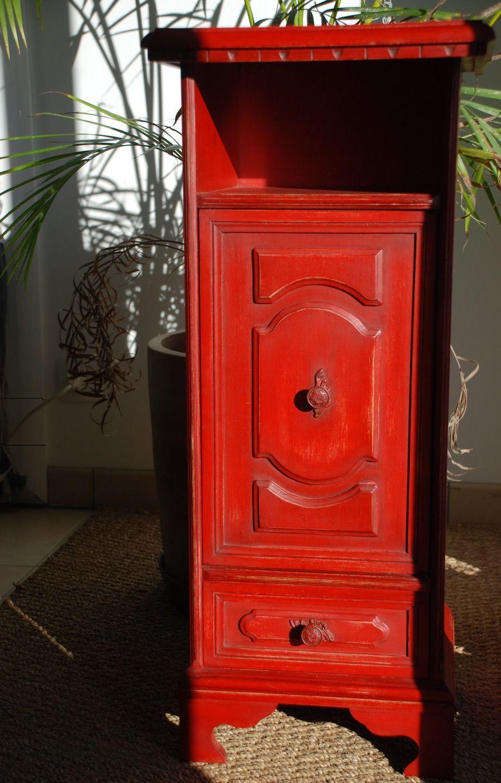 Meuble patin un rouge effet vieilli meubles et Meuble patine rouge