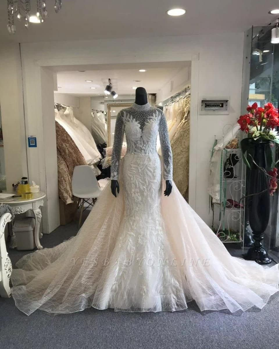 High Neck Sheer Long Sleeves Wedding Dresses With