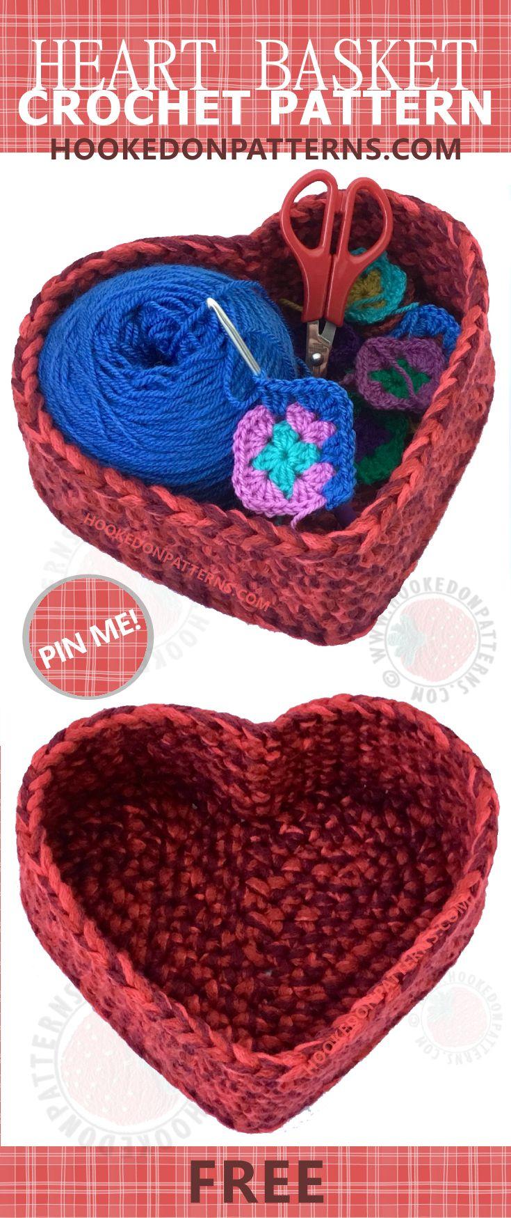 Free Crochet Heart Basket Pattern | Crochet basket pattern, Free ...