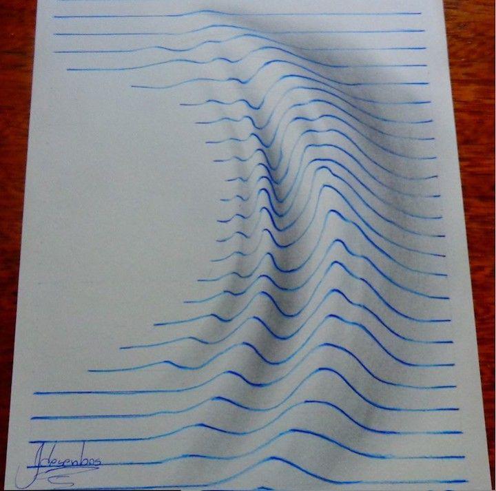 Dessins étonnants en 3D avec des lignes bleues d\'une feuille ...