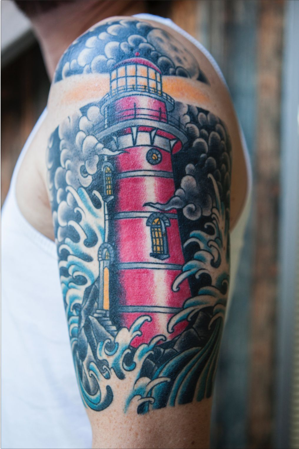 My own lighthouse tattoo. #traditional #lighthouse # ...