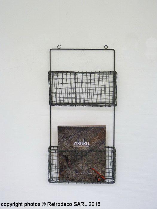 Range-magazines mural 2 compartiments gris, déco scandinave   Ranges ...