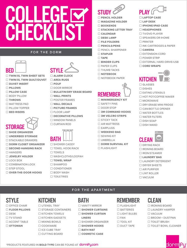 College Dorm Room Checklist College Backtoschool Dorms