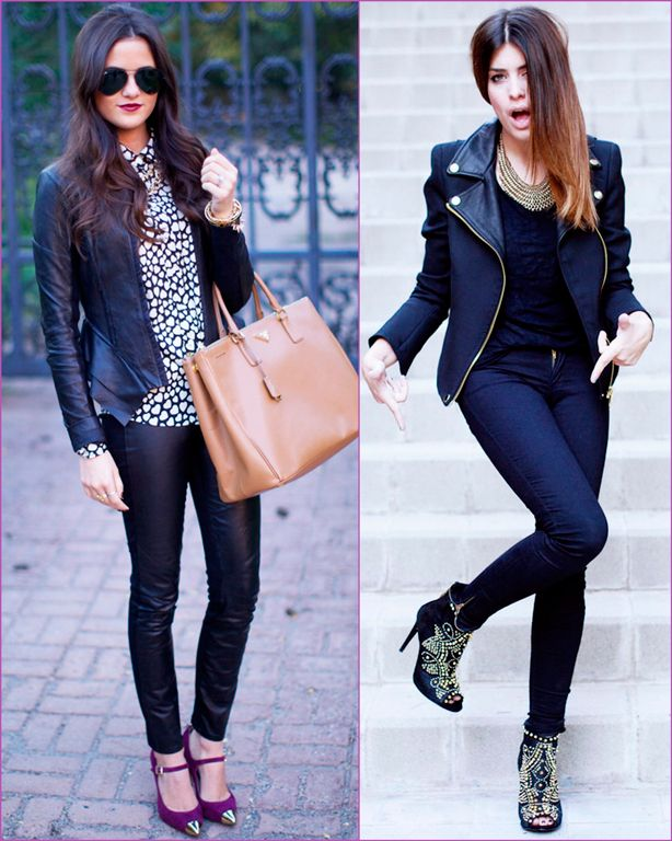 biker jacket and black pants