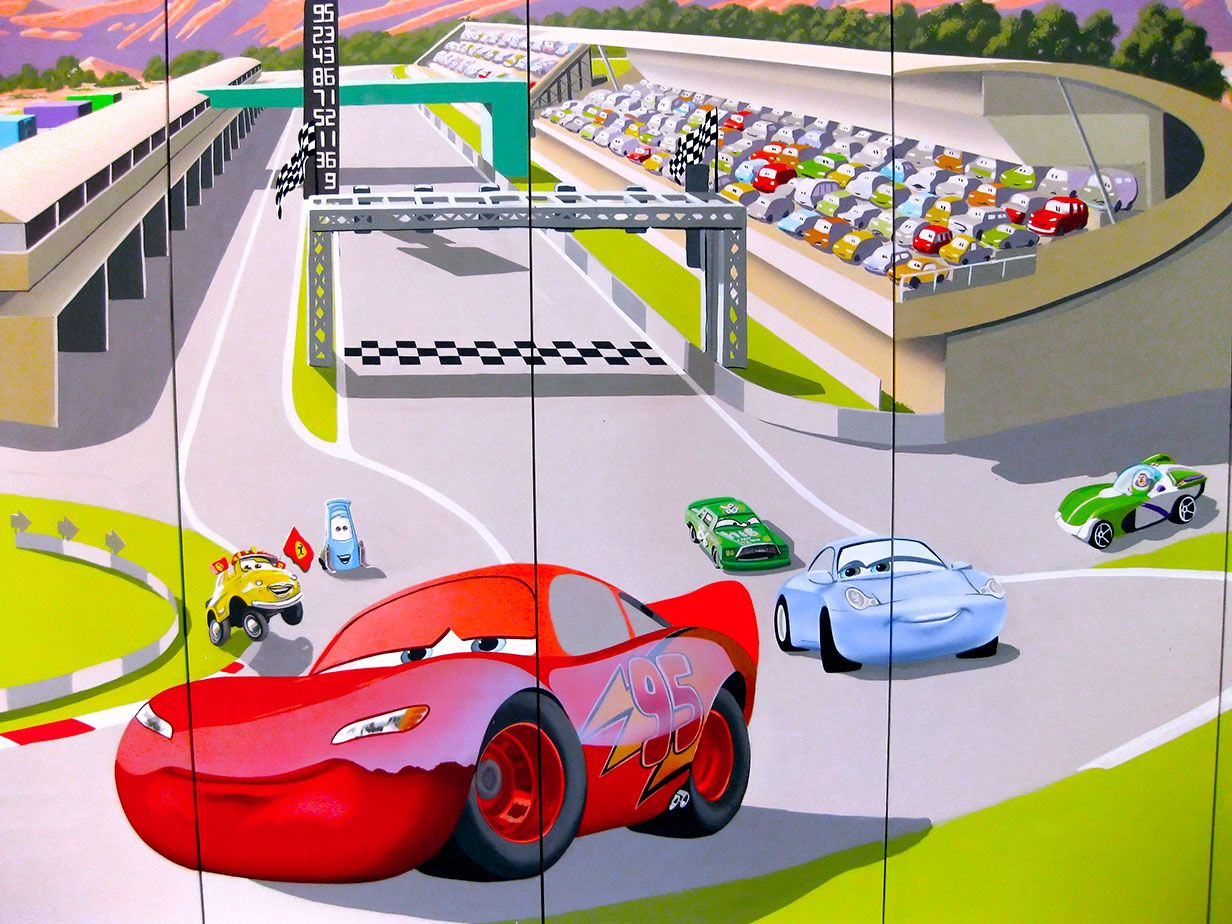 Lightning McQueen wall mural painted on wardrobe Cars