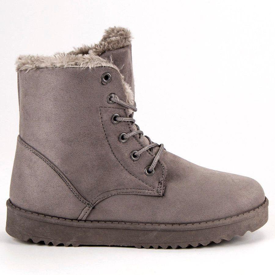 Forever Folie Cieple Zamszowe Buty Szare Combat Boots Boots Shoes