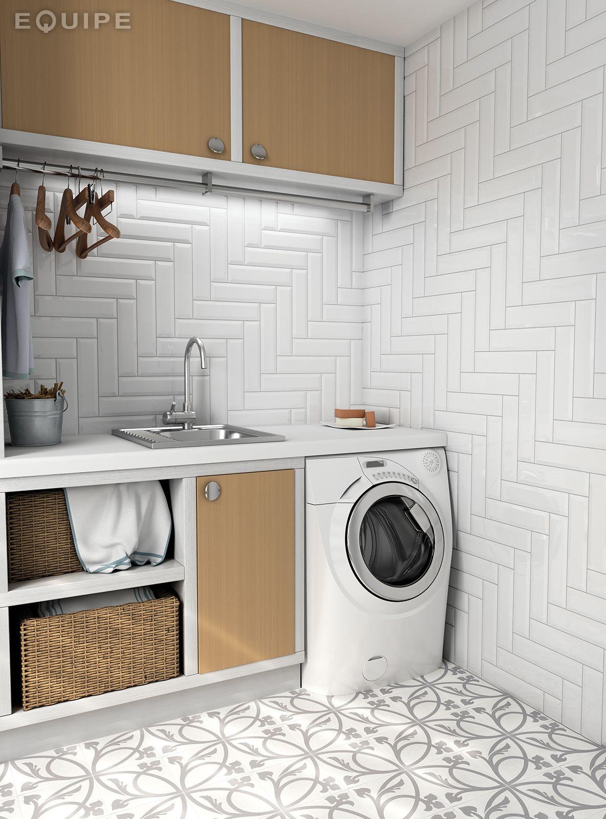 Metro White 7,5x30 | laundry rooms | Pinterest | Lavaderos, Lavar y ...