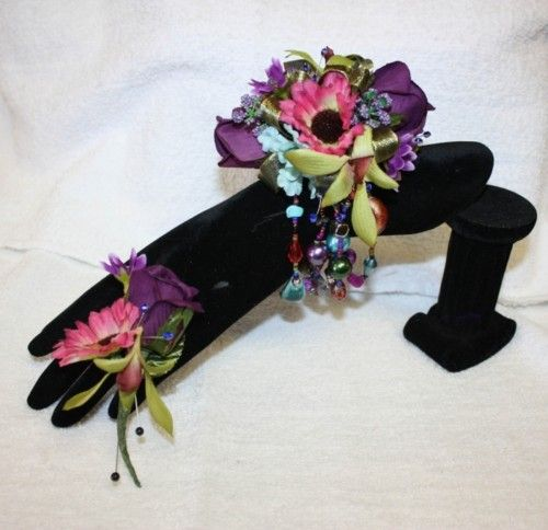 Purple Rose Pink Daisy Green Orchhid Prom Corsage Bout | eBay