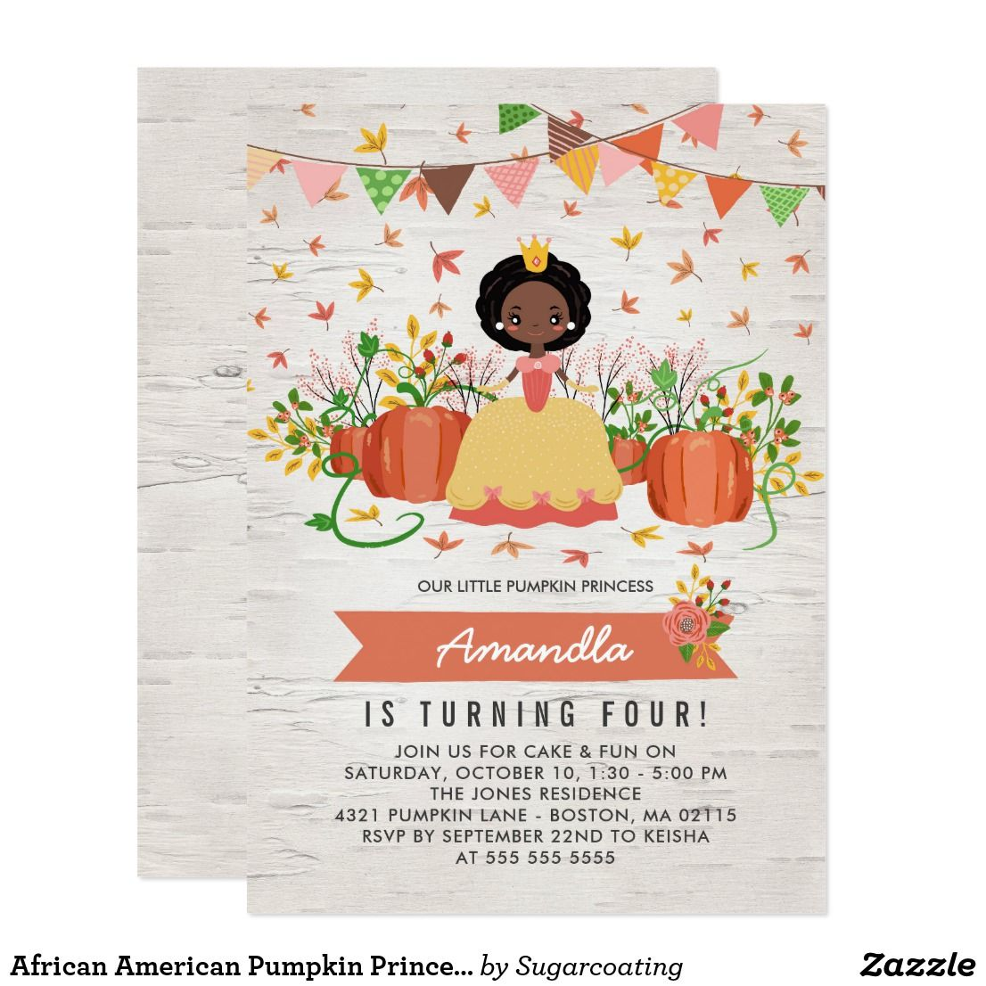 African American Pumpkin Princess Birthday Party Invitation | All ...