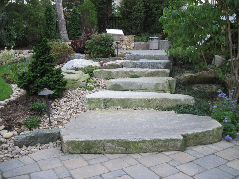 landscape stone and pavers | natural slab stone steps landscape