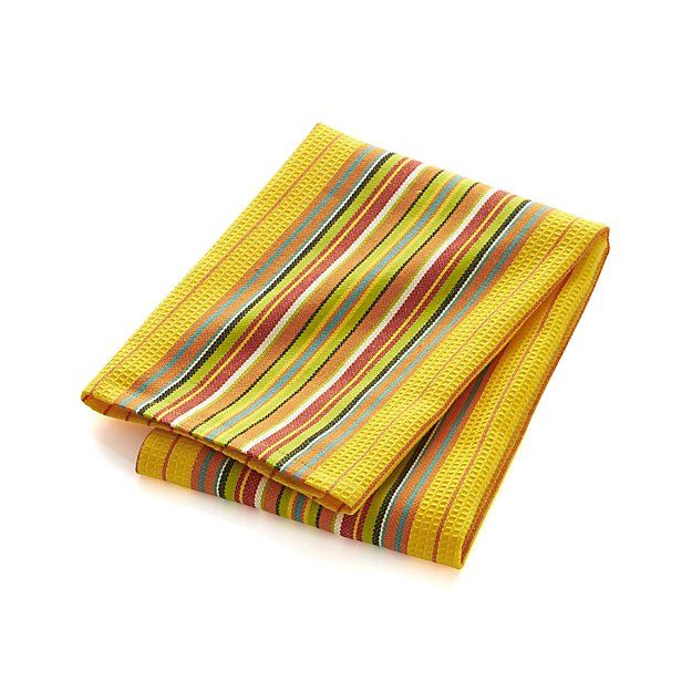 Salsa Dos Yellow Dish Towel   Crate and Barrel   Kitchen ...