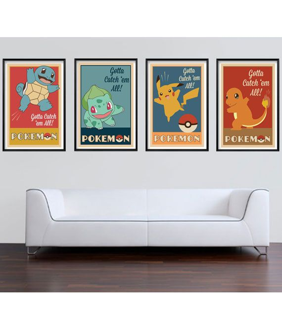 Retro Pokemon Inspired Print Set with Pikachu, Bulbasaur, Squirtle and Charmander    * Digital illustration print  * Measures 11 x 17  *