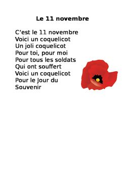 Easy poem for primary or core French students