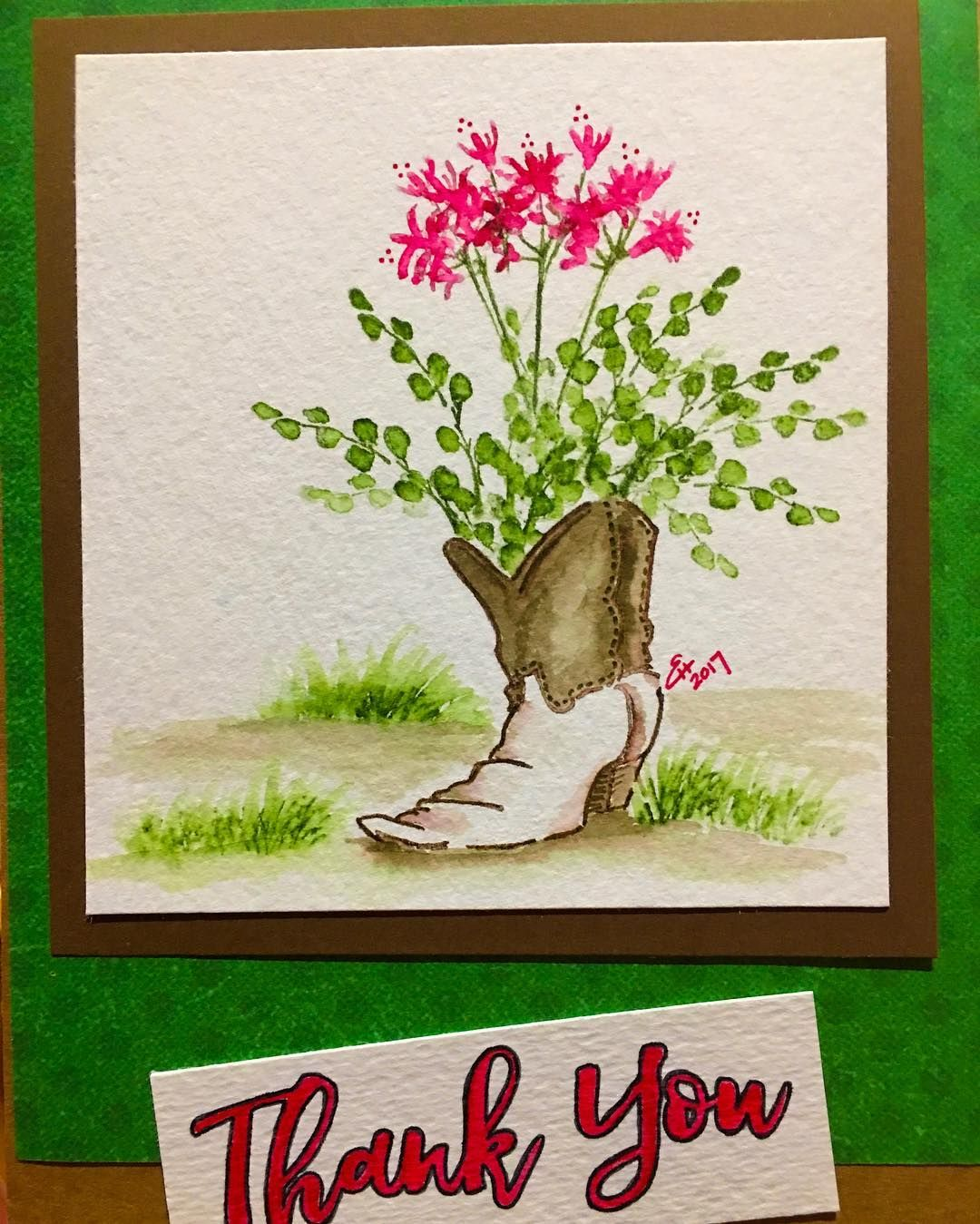 Rubber Stamp Card Making Ideas Part - 25: Art Impressions Rubber Stamps: Wonderful Watercolor. Handmade Card With  Cowboy Boot, Flowers,