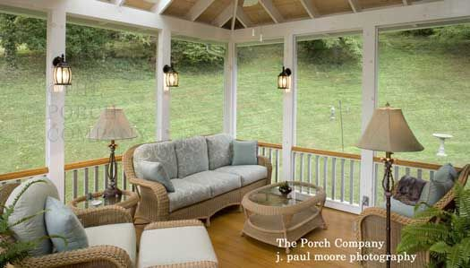 outdoor lamps and sconces add ambiance on this enclosed porch screen porch ideas designs - Screen Porch Design Ideas
