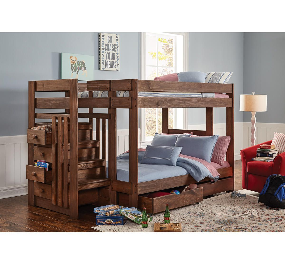 Baylee full over full stairbed Cabin bunk beds, High