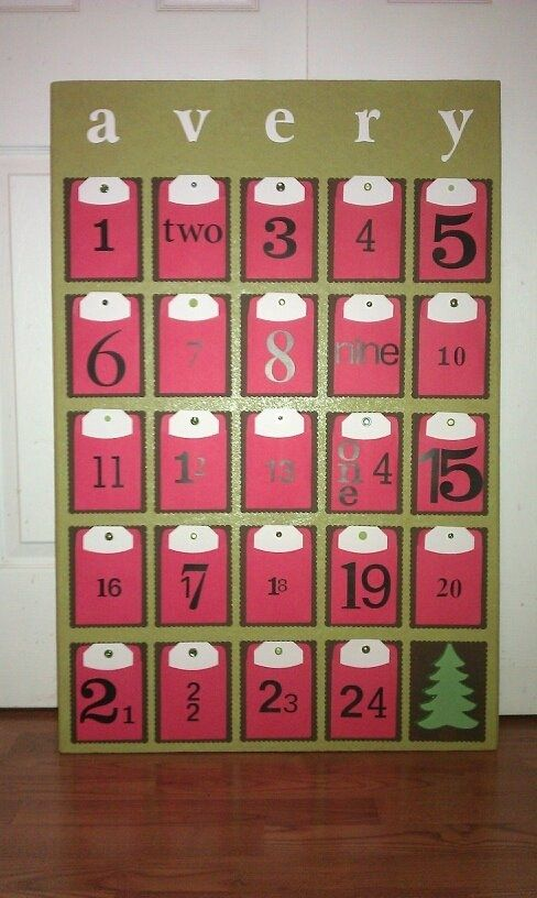 An oversized Christmas countdown + activity calendar. (How-To) Made this for Avery last weekend - she LOVES it.