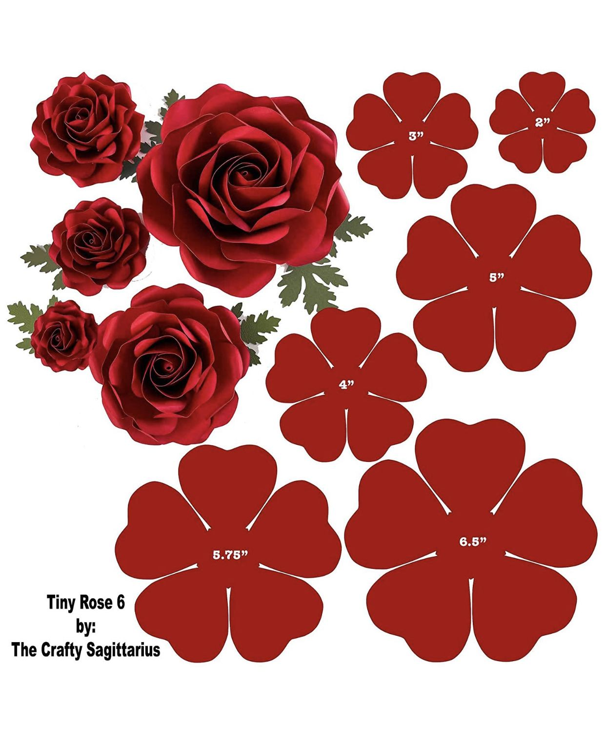 Hard Copy Template Of 6 Sizes Tiny Rose 6 Available In Amazon Paper Flowers Craft Giant Paper Flowers Large Paper Flowers