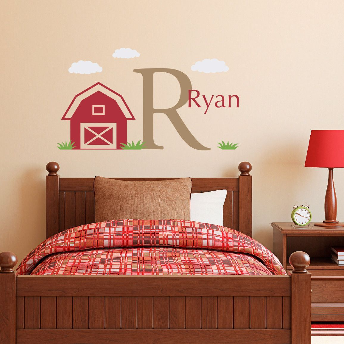 Personalized Barn with Name and Initial, Name Wall Decal - Medium