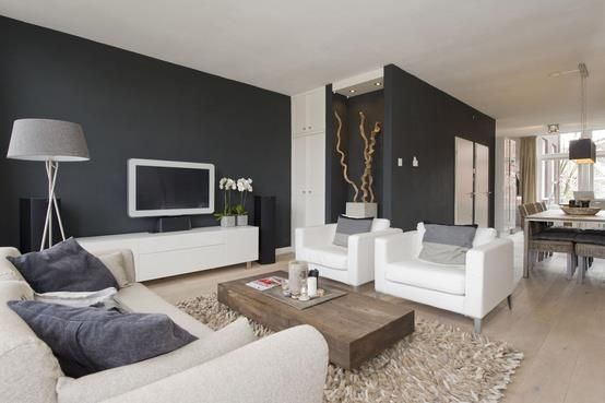 Dark Grey Walls With White Furniture Contemporary Living Room