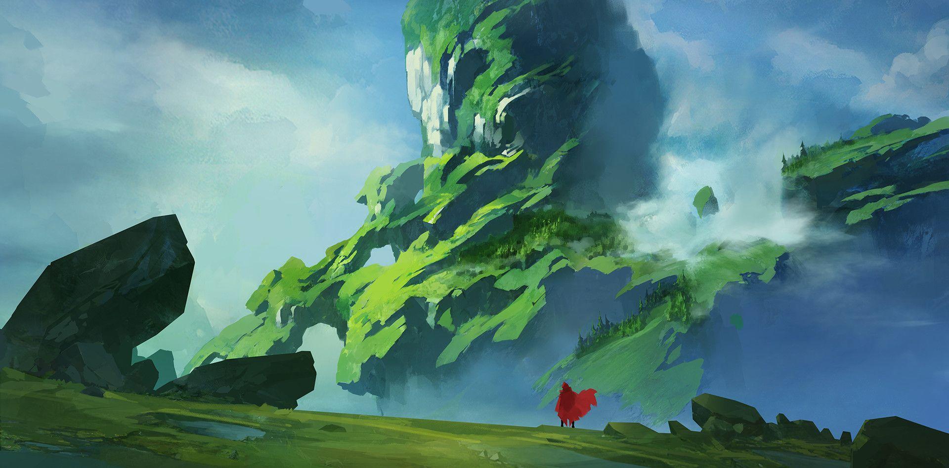 岩石山 by YU YIMING on ArtStation.