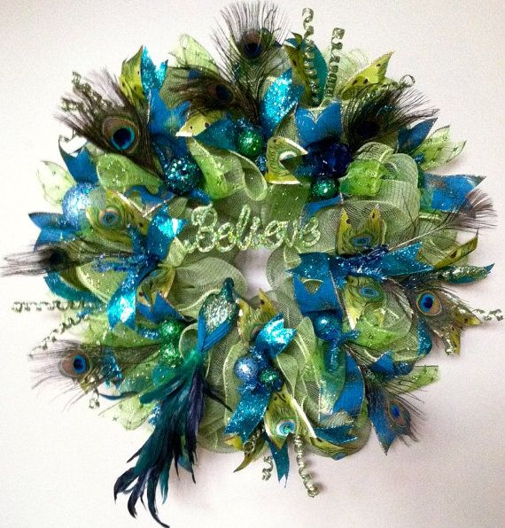 Peacock and Peacock Feathers Wreath, Holiday Door Wreath, Christmas Ribbon Door Wreath, Christmas Wall Decor, Custom Made, One of a Kind