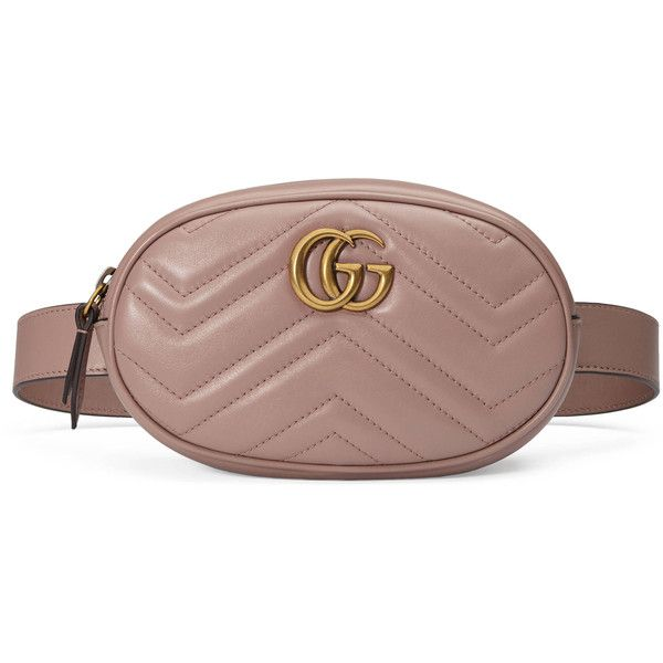Gucci Gg Marmont Matelassé Leather Belt Bag (€930) ❤ liked on Polyvore featuring bags, gucci, belt bag, beige, gucci fanny pack, gucci shoulder bag, brown leather belt, leather hand bags and purses crossbody