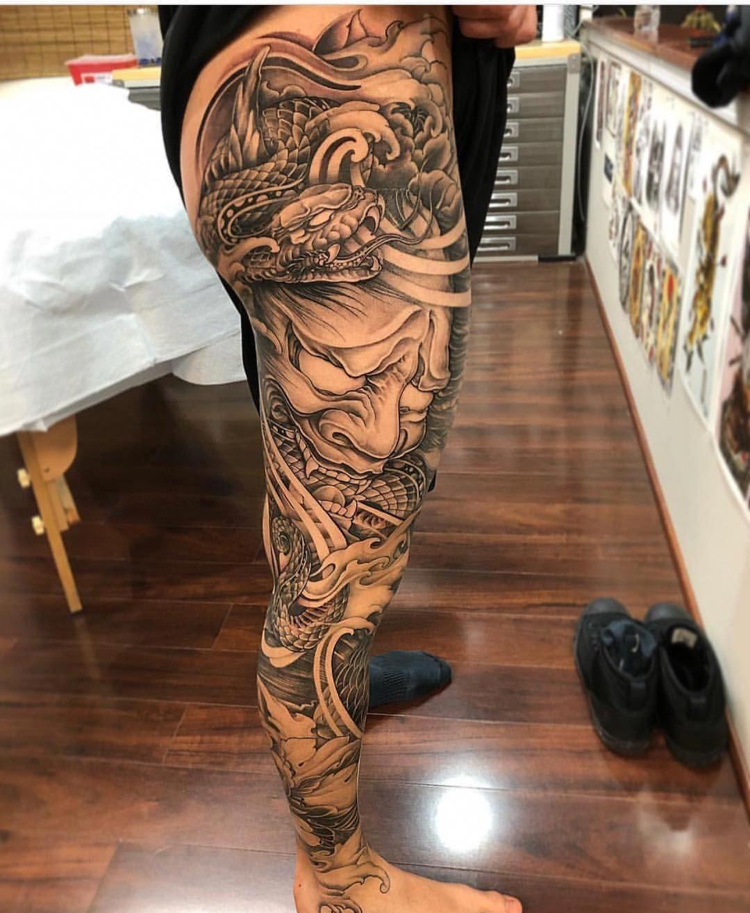 Bayarea Tattoo 9dragonsink On Instagram Snake Hannya Leg Sleeve By Nhaomkaratattoo Sleevetattoo Thigh Tattoo Men Full Leg Tattoos Leg Tattoo Men
