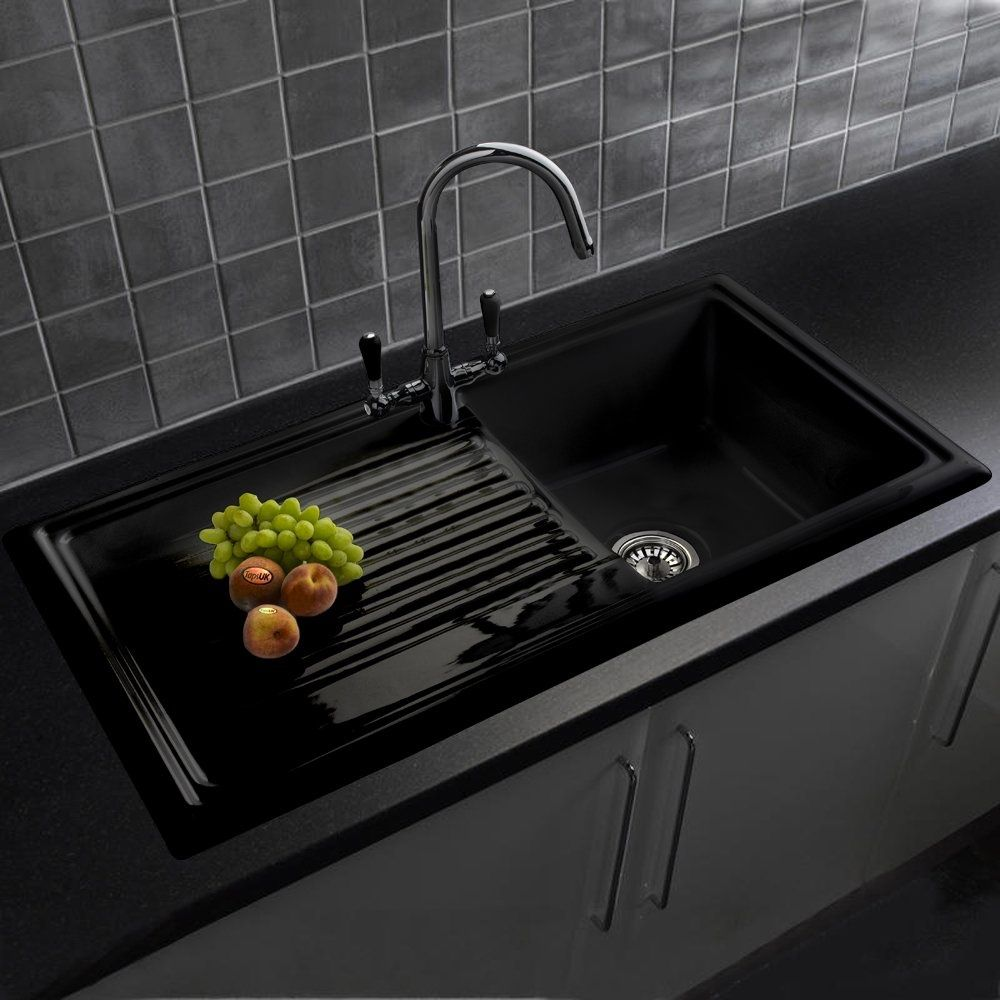 Reginox 1.0 Bowl Black Ceramic Kitchen Sink, Waste & Brooklyn Tap ...