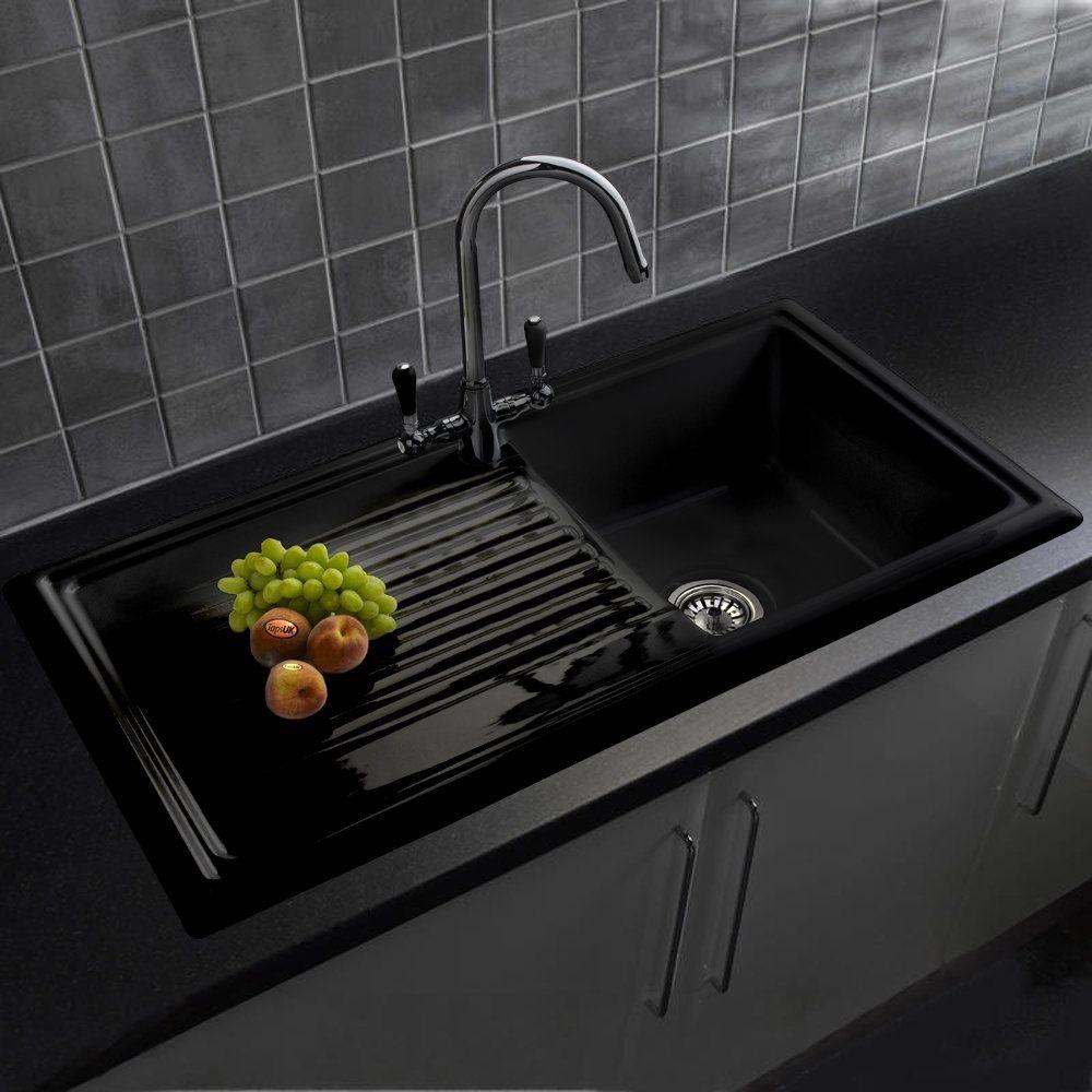 Reginox 1 0 bowl black ceramic kitchen sink waste brooklyn tap rl404cb reginox from taps uk