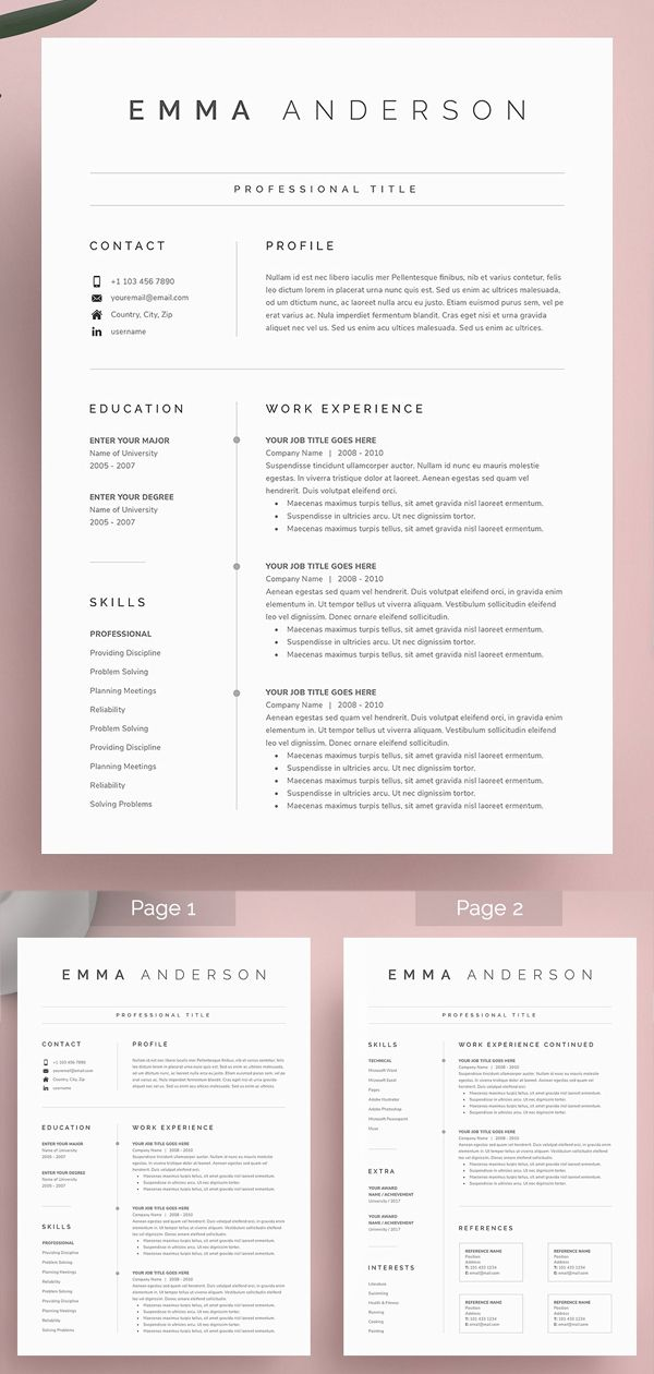 Word Resume Cover Letter Cover Letter For Resume Resume Design Template Resume Template Word
