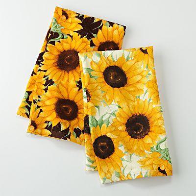Croft Barrow Sunflower 2 Pk Kitchen Towels Sunflower Kitchen