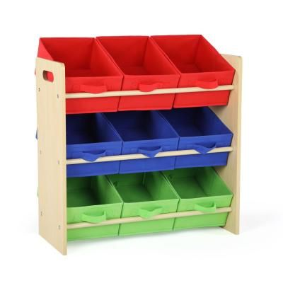 Tot Tutors Primary Collection Natural Primary Kids Storage Toy Organizer With 9 Fabric Bins Wo824 The Home Depot In 2020 Toy Storage Organization Fabric Storage Bins Kid Toy Storage