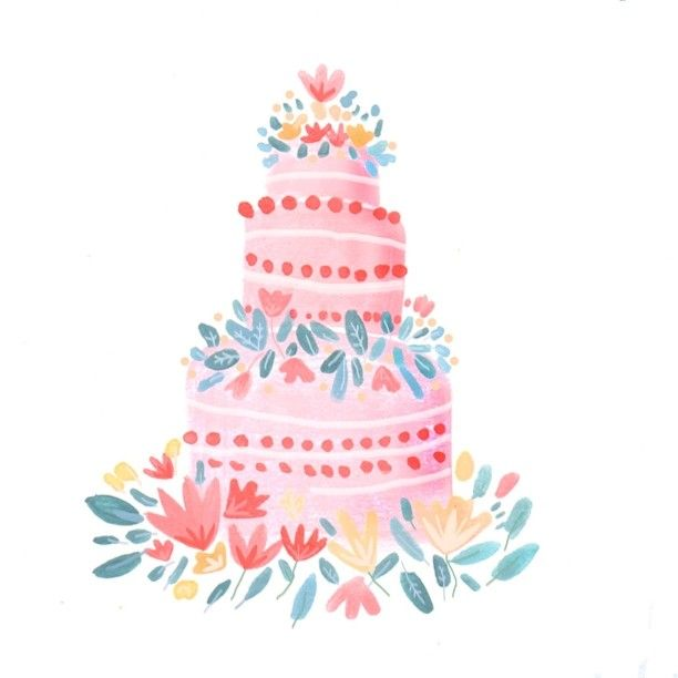 Peachy Cake Wedding Cake Illustration Birthday Cake Illustration Funny Birthday Cards Online Amentibdeldamsfinfo