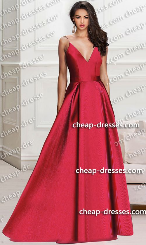 stunning v-neckline floor length wine mikado ball gown prom dress ...