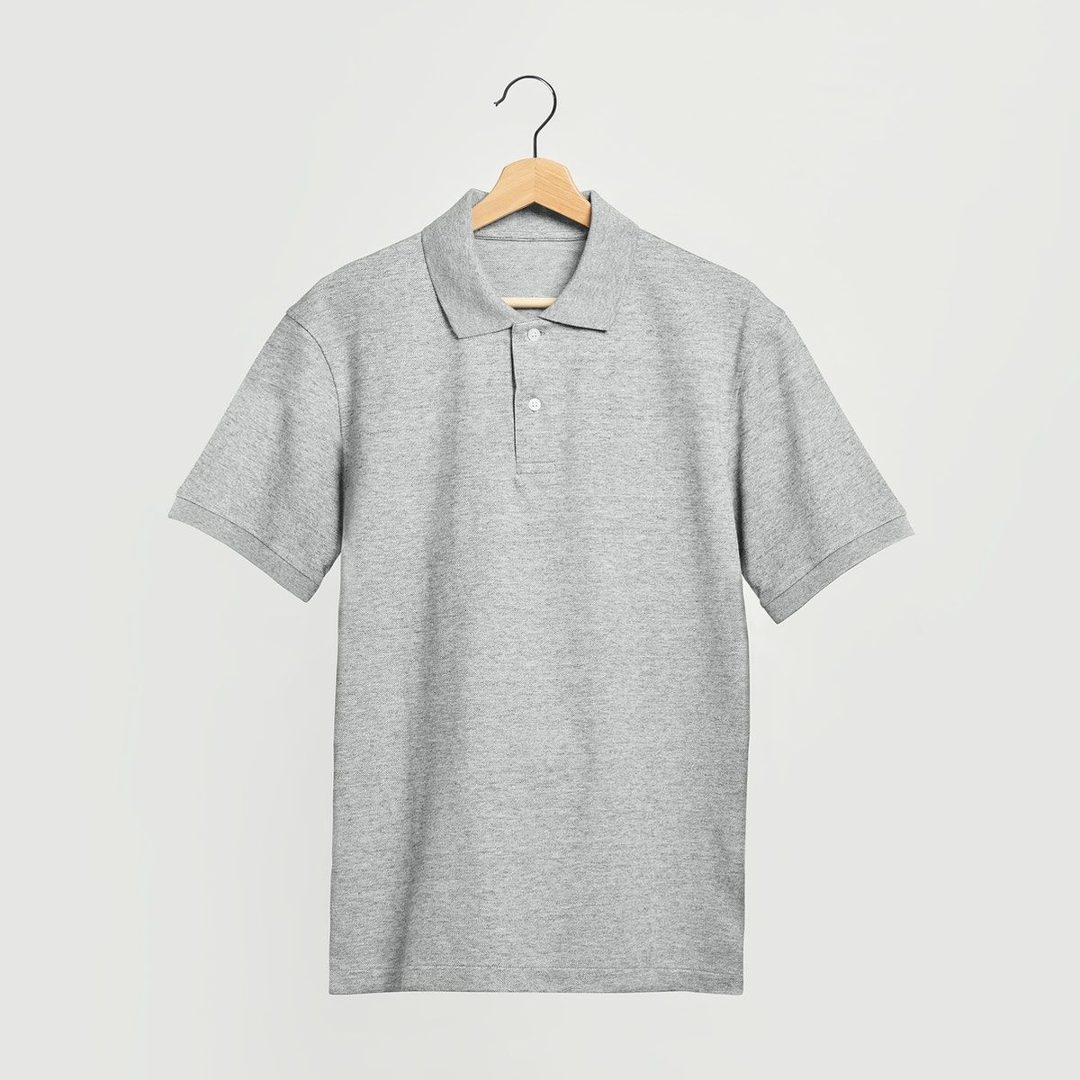 Download Men S Gray Polo Shirt Mockup On A Wooden Hanger Premium Image By Rawpixel Com Chanikarn Thongsupa