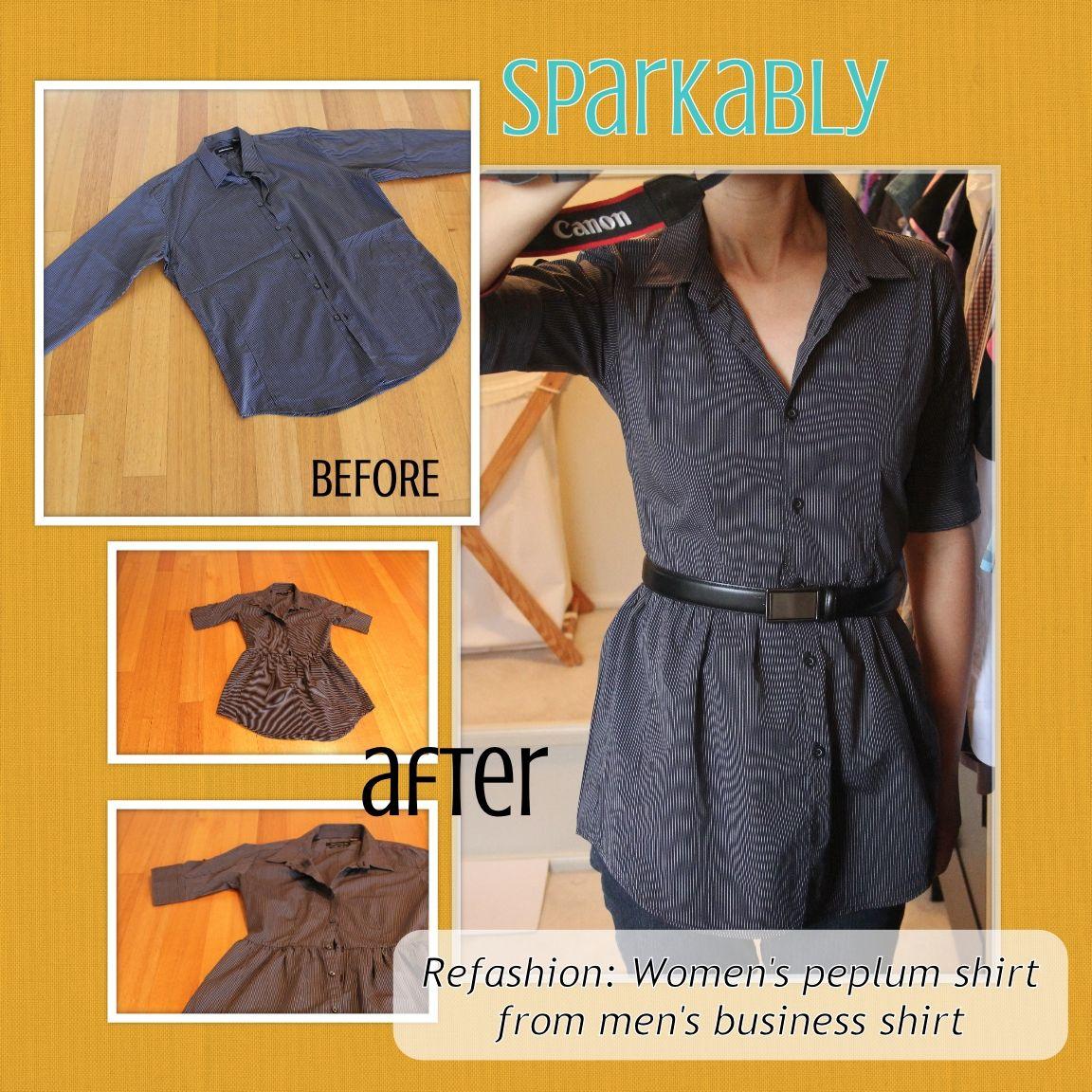 Sparkably: Refashion Tutorial – Men's shirt to women's ...