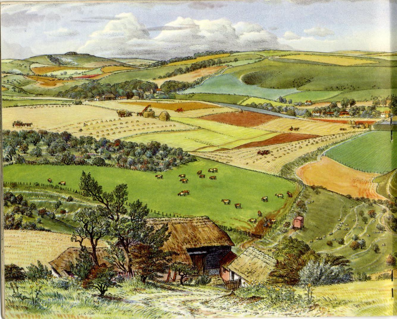 FARM CROPS IN BRITAIN 1955 / ill. S.R.BADMIN   Landscape ...
