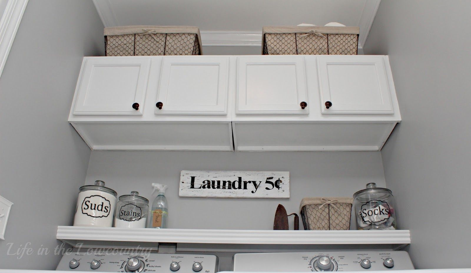 Labeled canisters for laundry room one project at a time a bowl life in the lowcountry laundry room makeover diy solutioingenieria Images